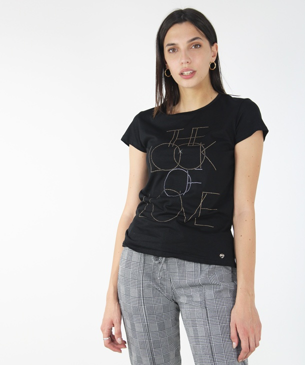 T-SHIRT LOOK STRASS HOZONE