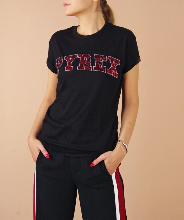 t-shirt scritta pyrex strass