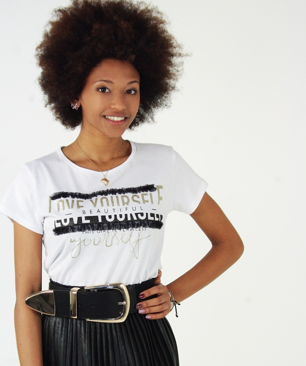 T-SHIRT CON ROUCHES IN TULLE HOZONE