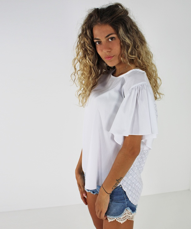 T-SHIRT CON RETRO IN PIZZO SANGALLO HOZONE
