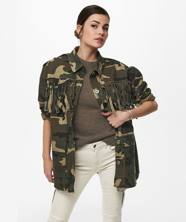 GIACCA CAMOUFLAGE CON FRANGE ONLY