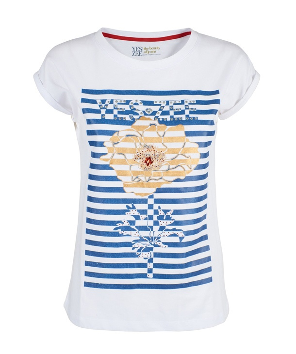 T-SHIRT STAMPA RIGHE YES.ZEE